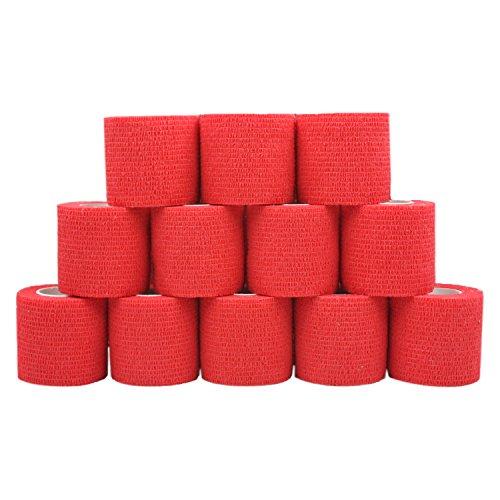 COMOmed selbstklebender verband elastische binde handgelenk bandage pflaster rolle Dog Bandagen Tierische Bandagen See Rot 5 cm X 12 Bände