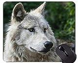 Yanteng Gaming Mouse Pad, Timber Wolf Face Alfombrilla de ratón con Bordes cosidos