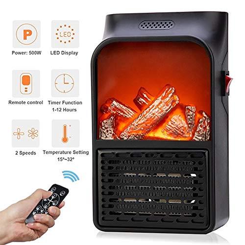 Bärbar elektrisk fläktvärmare, fjärrkontroll snabb uppvärmning, 500 W energieffektiv keramisk värmare, med överhettningsskydd, för hem och kontor