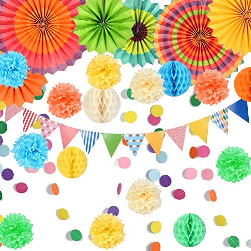 Colourful Party Decorations Set, 6 Paper Hanging Fans, 10 Paper Pom Poms Flowers Balls, 5 Honeycomb Balls, 5m Triangle Bunting Flags 4m Garlands String Polka Dot for Birthday Wedding Mexican Party