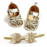 Babyschuhe, Taufschuhe Mädchen Baby Prinzessin Schuhe Stirnbänder Geschenkset |Anti-Rutsch&Weiche Sohle| Säugling Pailletten Bowknot Blumen Krippe Schuhe Lauflernschuhe Mädchen Hochzeit Schuhe