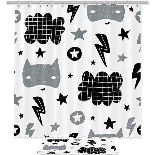 AIBILI Duschvorhang-Set mit Bodenmatte, Badezimmervorhänge, wasserdicht, weiße niedliche Fledermäuse, Weiße niedliche Fledermäuse, Shower curtain 70.8x70.8in