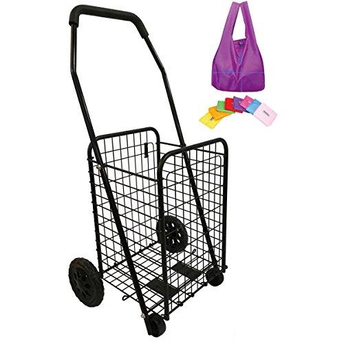 Einkaufstrolley aus Metall 45L - 4 Räder - Faltbar - Schwarze Farbe