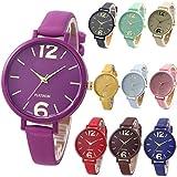 Yunanwa 10 Pack Unisex Women Men Watches Big Dial Lover Gift Leather Bracelet Wristwatch Wholesales (10pcs-614)