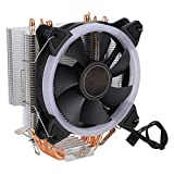 CPU Cooling Fan, Colorful Light Hydraulic Bearing 4Pin Single CPU Cooler Heat Dissipation Fan, 4 Pure Copper Heat Pipes for LGA775/1150/1151/1156/1366 AM2 / AM2 + / AM3 / AM4