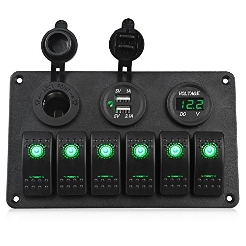 WATERWICH 6 Gang Marine Ignition Toggle Rocker Switch Panel Waterproof with Digital Voltmeter 3.1A Dual USB Charger Cigarette Lighter Socket For RV Car Boat Vehicles Truck Trailer Yacht (6 Gang Green)