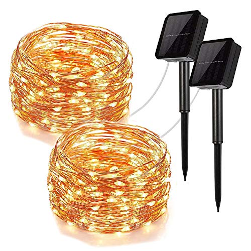 UPOOK Solar String Lights, 100LED Copper Wire Solar Fairy Lights 33Ft 8 Modes Waterproof Outdoor String Lights for Christmas Party Wedding Decoration Patio Garden Yard 2 Pack (Warm White 100LED)