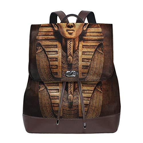 SGSKJ Rucksack Damen Ägyptische Pharao-König-Fehlschlag, Leder Rucksack Damen 13 Inch Laptop Rucksack Frauen Leder Schultasche Casual Daypack Schulrucksäcke Tasche Schulranzen