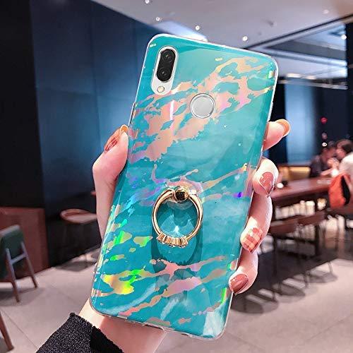 NSSTAR Compatible avec Huawei P20 Lite Coque 3D Motif Marbre Coque Souple TPU Case avec Support Bling Glitter Diamant Strass Coque Silicone Ultra-Mince Antichoc Bumper Etui,Bleu