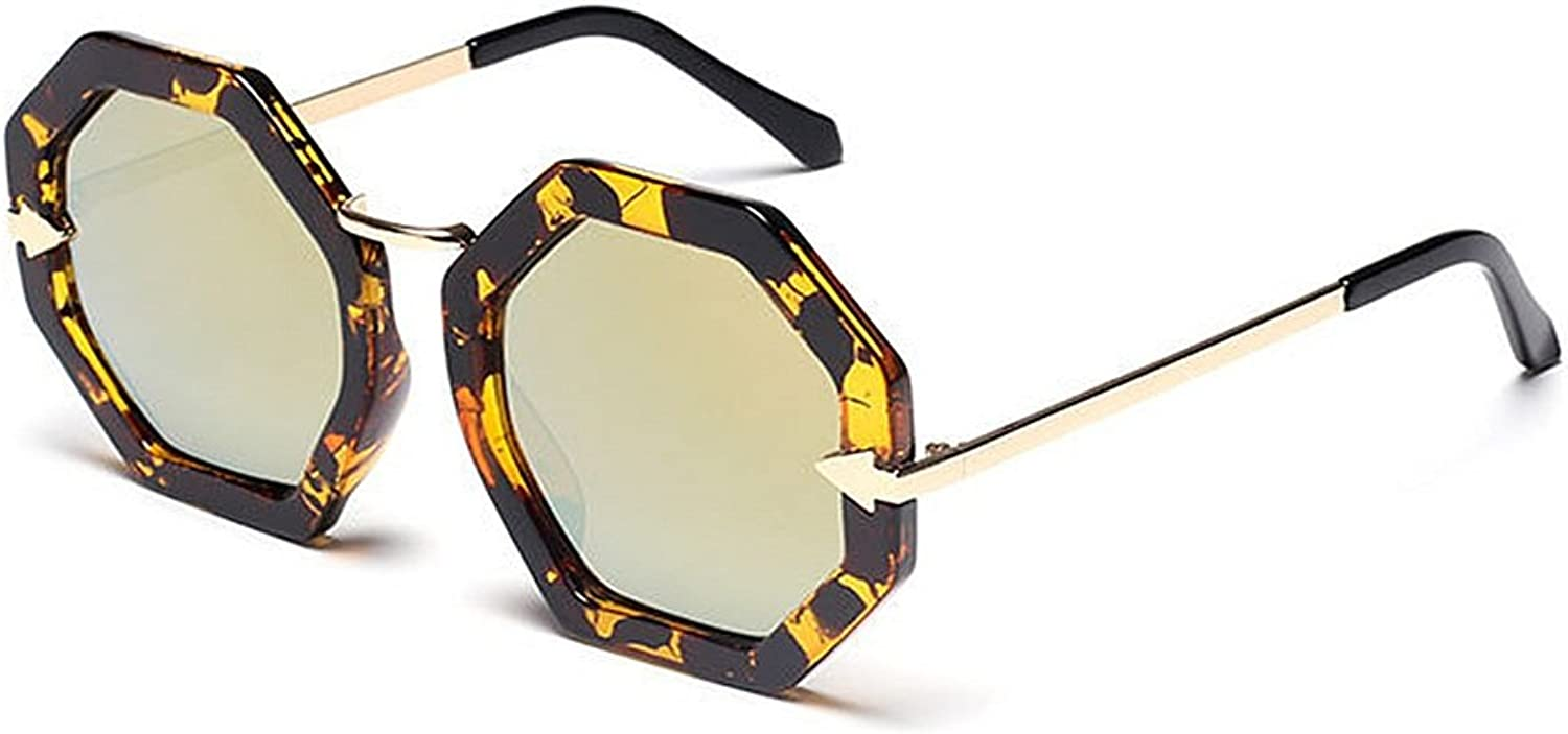 EYES Unisex colord Lens Small Polygon Shape UV Predection Sunglasses for Men Women Outdoor Driving Travelling Outdoor (color   Leopard Frame Local gold)