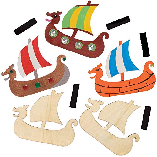 Baker Ross Wikinger Holzmagneten, für Kinder Kunsthandwerksprojekte (10 Stück)