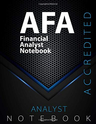 "AFA Notebook, Financial Analyst Certification Exam Preparation Notebook, 140 pages, AFA examination study writing notebook, Dotted ruled/blank double ... 8.5"" x 11"", Glossy cover pages, Black Hex"
