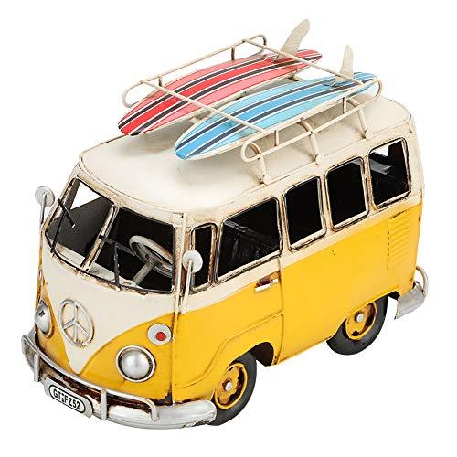 Modelo de 8.3 Pulgadas, Estilo Retro clásico, Metal, autobús de Playa, vehículo, decoración del hogar, Sorpresa de cumpleaños Ideal para Novio, Amarillo