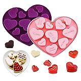Molde de Chocolate Silicona, FANDE 2 Pack Moldes de Bombones de Silicona, Pastel Antiadherente Corazones Moldes, Molde de Silicona de San Valentín, para Tartas, Jabón