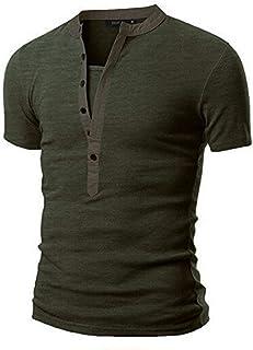 Teresamoon Men's Summer Casual Solid Patchwork V-Neck Short Sleeved T-Shirt Top Blouse