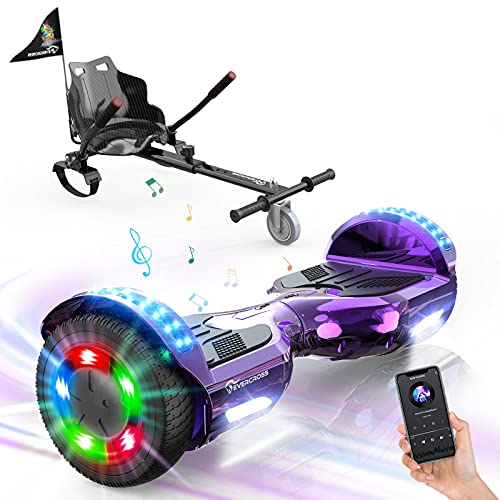 """EverCross Hoverboard, Self Balancing Scooter Hoverboard with Seat Attachment, 6.5"""" Hover Board Scooter with Bluetooth Speaker & LED Lights, Hoverboards Suit for Adults and Kids"""