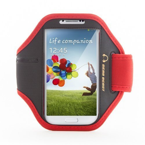 Gear Beast Premium Nylon/Neoprene Sports Armband for Samsung Galaxy S4 & LG Google Nexus 5 & Nexus 4 & HTC Windows 8x & Blackberry Z10 & More (Red)