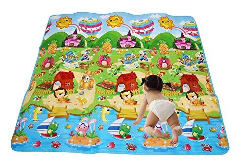Alfombra Infantail para Jugar Niños y Bebés Doble Caras Impermeable Diseño de Animal y Alfabeto 200X180CM