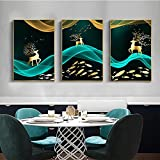 Imágenes de paisaje de Stlye abstracto moderno nórdico Golden Elk Póster moderno e impresión de pintura en lienzo en la decoración de la sala de estar 30x42cmx3pcs Sin marco