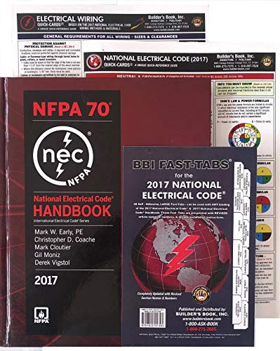 2017 NEC National Electrical Code Handbook, Fast TABS, Quick Card, Wiring Card NFPA 70 Set