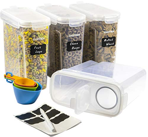 GOODYBOX Premium Cereal Container Storage Set of 4 (4L White) - Airtight BPA Free Kitchen Containers Great for Cereal, Pasta, Rice, Sugar, Flour, and Pet/Dog Food. Inc. 8 Labels, Spoon Set & Pen.