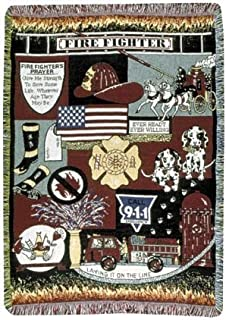 Fire Fighter Fireman Theme Print 3 Layer Afghan Throw Blanket 50 x 70
