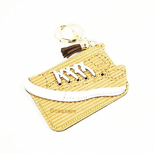 [ATK21] Sneakers スニーカー 運動靴 シューズ モチーフ スエード パスケース カードケース カードホルダー ICカード キーホルダー アクセサリー (マスタード)