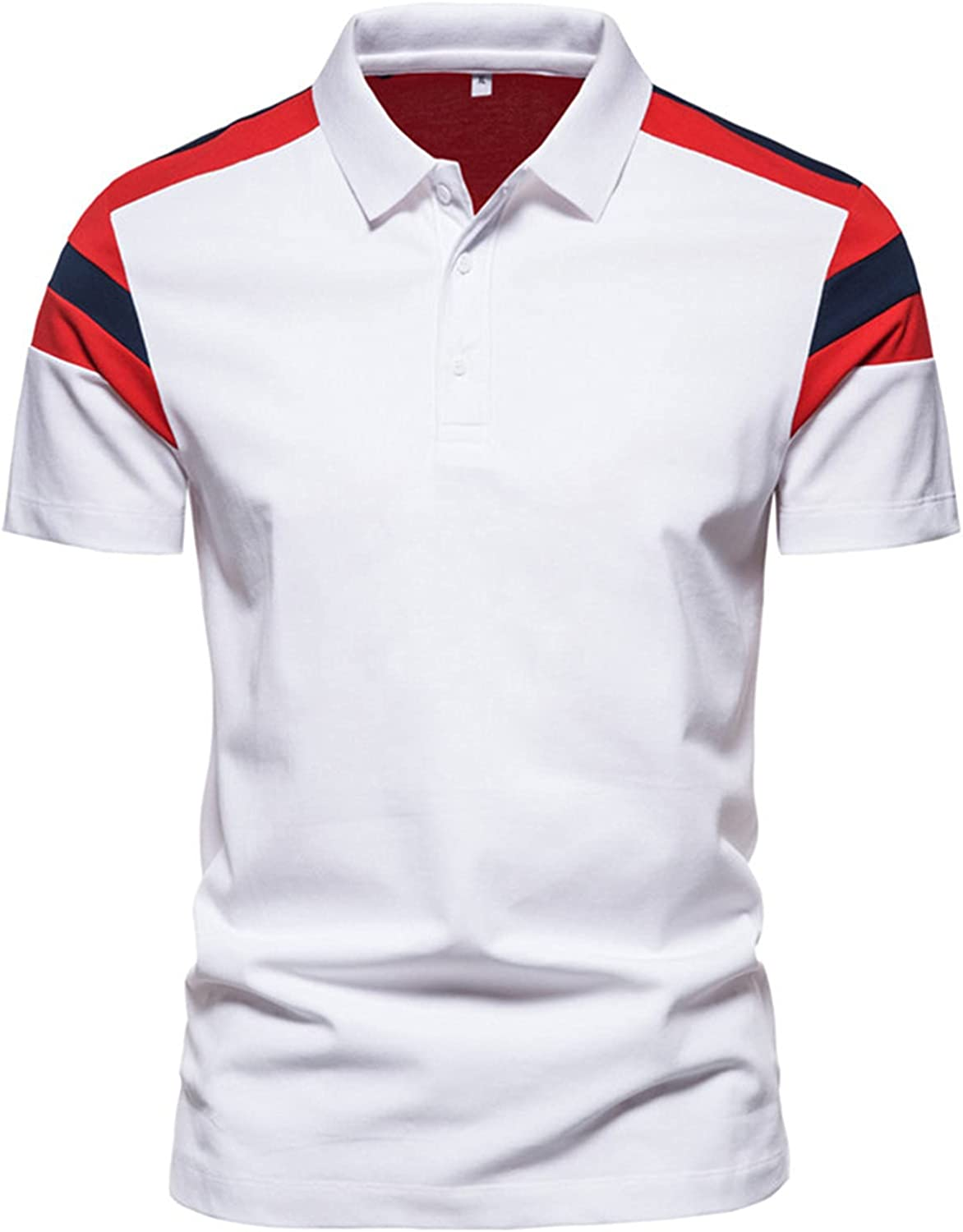 Mens Short Sleeve Polo Shirts Quick Dry Big and Tall Shirt Sports Breathable Tops Striped Casual Summer Tennis T-Shirts