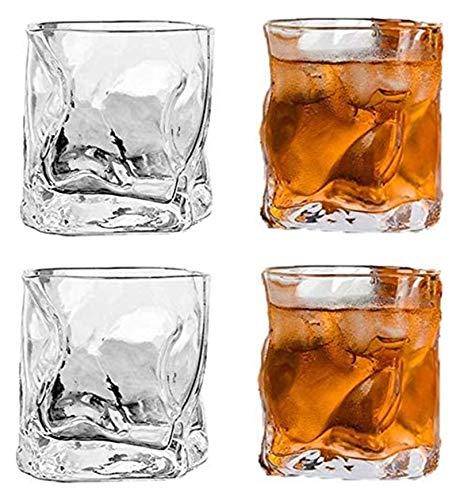 WHZG Gafas de whisky de 4pcs no liderados, gafas de cristal, vidrios transparentes, accesorios de vino para vino, cócteles o jugo 711
