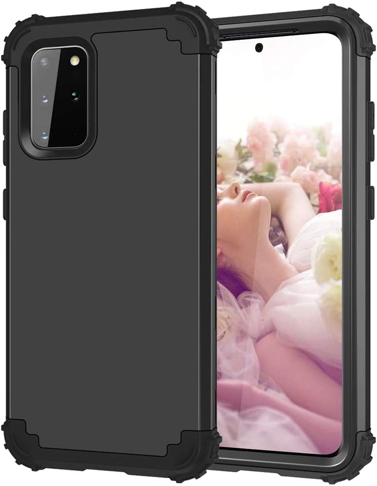 Phone Case for Samsung Galaxy S20 Plus Glaxay S20+ 5G Hard Cover Shockproof Soft Silicone Bumper Hybrid Heavy Protective Cell Accessories Gaxaly S20+5G S20plus 20S + S 20 20+ G5 Cases Women Men Black