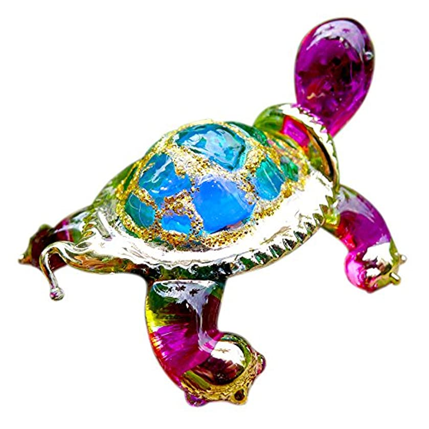 Sansukjai Turtle Figurines Animals Hand Painted Green Hand Blown Glass Art Gold Trim Collectible Gift Decorate