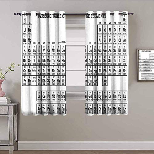 XLDYSC Kitchen Blackout Curtains Soft Window Treartment - White Chemistry Element School - Thermal Insulated Curtains Home Curtains Bedroom Girls 280X300Cm
