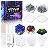 ISSEVE Silicone Resin Molds 51Pcs Resin Casting Molds Kit Including Sphere Cube Pyramid Square Round Epoxy Molds with Making Tools for Resin Epoxy, Candle Wax, Soap, Bowl Mat etc