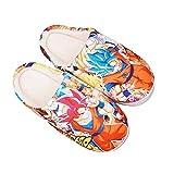 YZJYB Anime Dragon Ball Coral Fleece Zapatillas para Hombres Damas Antideslizantes Slippers De Felpa Son Goku Patrón Coral Fleece Pantuflas Interiores,UK 7.5~9/EU 42~44(290)