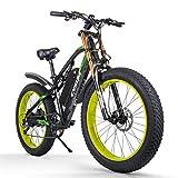 cysum vélos électriques pour Hommes, Gros Pneu 26 Pouces Ebikes vélos Tout Terrain, VTT pour Adulte avec Li -Batterie Amovible 48V 17Ah E-Bike (Black-Green)