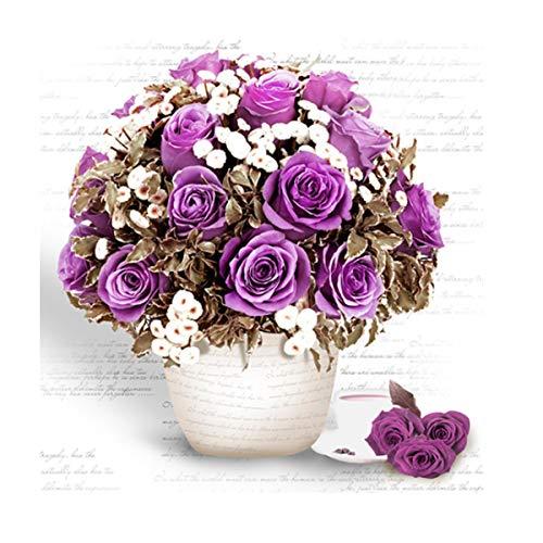 Liwien 5D Pintura de Diamante Flores,Kit de Punto de Cruz Diamantes de Imitación Bordado Manualidades para Decoración de Pared Hogar Oficina Dormitorio Salón (Púrpura)