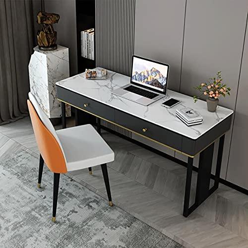 Mesa de Estudio para Ordenador Escritorio para Juegos Cajón de Almacenamiento Marco de Metal Estable Ahorro de Espacio Estilo Moderno y Simple Oficina en casa