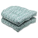Pillow Perfect Outdoor/Indoor Rhodes Quartz Tufted Seat Cushions (Round Back), 19' x 19', Blue, 2 Pack
