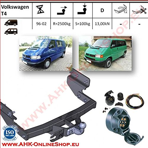 ATTELAGE avec faisceau 7 broches | Volkswagen T-4 de 1996 à 2002 Bus / crochet «col de cygne» démontable avec outils