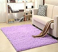 スーパーソフトシルクウールラグ屋内現代シャグラグマットシルキーラグベッドルームのフロアマットベビー保育園ラグ子供のカーペット (色 : Lilac, サイズ : 50X80cm)