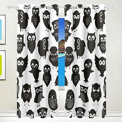 Ahomy Bedding Verdunkelungsvorhänge mit Ösen, Schwarz und Weiß, Eulen-Thermo-Vorhänge für Wohnzimmer, B 213,4 x L 139,7 cm