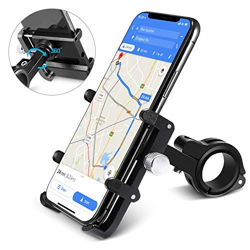 """homeasy Soporte Móvil Bicicleta, Ajustable Universal Soporte Movil Moto Anti Vibración para 3.5""""-7"""" Smartphones con Rotación 360°, Adecuado para iPhone XS/XR/X/8/8Plus/7Plus Samsung S7/S8/S9 (Negro)"""