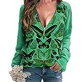 precauti Blusa de manga larga de jersey sudadera con patrón cómodo casual blusa suéter tops cuello en v estampado de mariposa superior