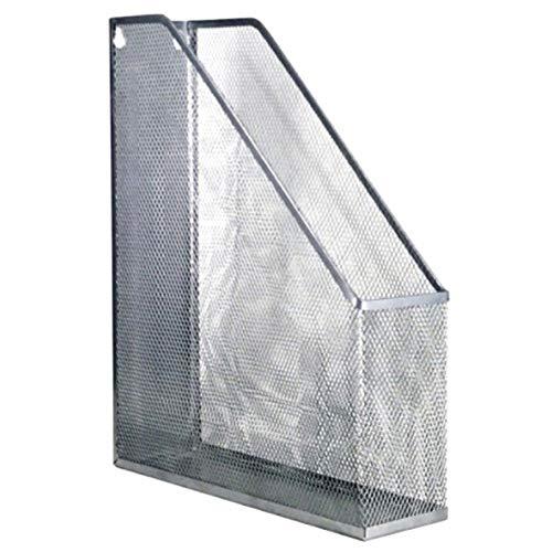 hongbanlemp Archivadores revistas Desktop File Holder Organizer Malla de Metal Vertical Vertical Soporte de Archivo Metal Mesh Desktop Organizer Compartimientos (Plata) Organizador Archivos
