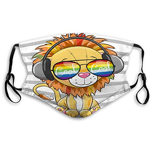 Turring-shop Mouth Covers for Men Women Boys Girls Cute Lion with Sun Glasses Reusable Cover