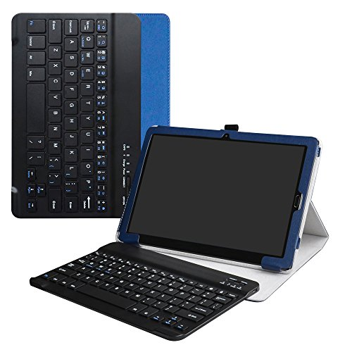"""LiuShan MediaPad M5 10.8 Teclado Funda, Detachable Teclado (Teclado QWERTY Formato inglés) PU Cuero con Soporte Caso para 10.8"""" Huawei MediaPad M5 10.8 / M5 Pro Tablet,Azul"""