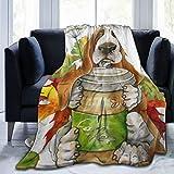 TARTINY Perro Raza Basset Hound con Vaso Café Hojas Florales Twin/Double (150x200cm) Manta de Franela Ligera y cálida Suave y cálida para Cama o sofá