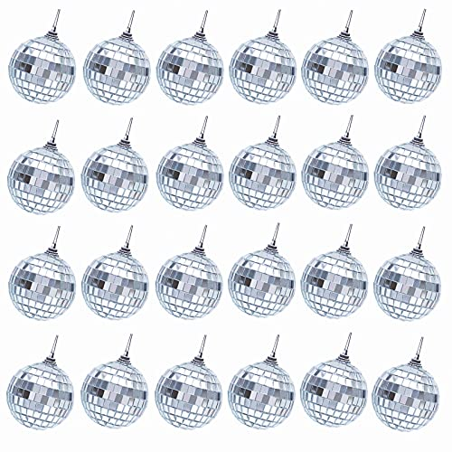 Transun Moo 24 Pack 1.6 Inches Silver Disco Ball Hanging Mirror Ball Ornaments for Party Wedding Christmas Tree Decoration