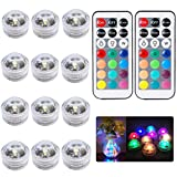 12pcs Submersible LED Tea Lights Bath Underwater Lights SMD 3528 RGB Lights for Fish Tank and Pond with IR Remote Control Waterproof Multi Color – Mood Lights for Party Aquarium Fish Tank Pond Pool