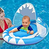 Baby Swimming Pool Float Ring with Removable Sun Canopy Safety Seat,Newest Double Airbag Inflatable Babies Spring Floatie Swim Trainer Newborn Infant Toddler, 6-36 Months (Blue)